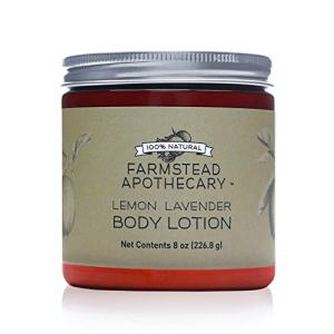 Farmstead Apothecary 100% Natural Body Lotion with Organic Safflower Oil, Organic Sunflower Oil & Organic Vitamin E Oil, 8 oz (Lemon Lavender)