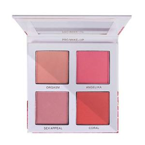 Vodisa Blush Palette 4 Color Blushing Natural Cheek Long-Lasting Pigment Makeup Blusher Set Blendable Beauty Cosmetic Matte Blush Kit with Mirror - 0.70 Ounce