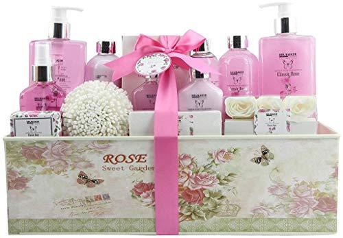 BRUBAKER Cosmetics Luxury Bath & Body Gift Set - Rose Scent - 15 Pcs Spa Gift Basket for Women and Men