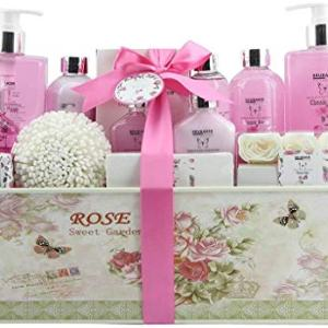 BRUBAKER Cosmetics Luxury Bath & Body Gift Set - Rose Scent - 15 Pcs Spa Gift Basket for Women and Men