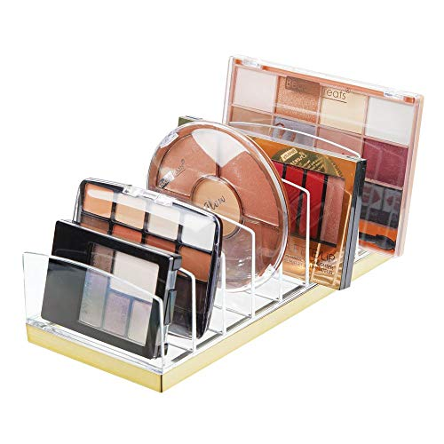 mDesign Plastic Makeup Organizer for Bathroom Countertops, Vanities, Cabinets: Cosmetics Storage Solution for - Eyeshadow Palettes, Contour Kits, Blush, Face Powder - 9 Sections - Clear/Soft Brass