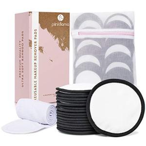 16 Large Reusable Makeup Remover Pads + Spa Headband & Laundry Bag | Black/White Reusable Makeup Pads | Bamboo Makeup Remover Pads, Reusable Cotton Rounds, Reusable Cotton Pads for Face & Toner Pads