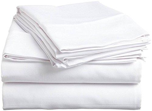 "Linen Adda 4 PC Bed Sheet Set 400 TC 100% Egyptian Cotton Super Soft Long Staple, Italian Finish Fitted Sheet fits Upto 15"" deep Pocket Mattress Twin XL, White Solid"