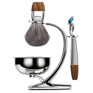 GRUTTI Premium Shaving Brush Set with Luxury Badger Brush Stand and Razor holder for Soap Bowl and Manual Razor Compatible with Fusion 5 Gift Box for Men