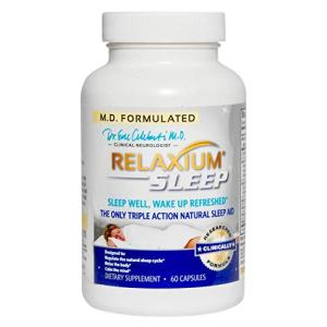 Relaxium Sleep Aid w/ Melatonin & Magnesium | Sleep Supplement for Sleep Enhancement & Relief from Sleeplessness, Anxiety, and Stress | w/ GABA, Chamomile, & Valerian / 60 Capsules (30 Day Supply)