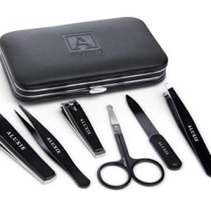 Manicure and Pedicure Kit for Men by Aluxie - Convenient, Time Saving, Nail Clippers Set, Luxury Grooming Gift Set, Travel-Size Leather Case - Stainless Steel