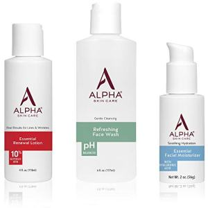 Alpha Skin Care Introductory Kit   Refreshing Face Wash, Essential Renewal Lotion, Essential Facial Moisturizer   Anti-Aging Formula   Reduces the Appearance of Lines & Wrinkles   For All Skin Types
