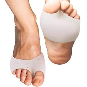 Best Half Toe Metatarsal Foot Pads - Silicone Gel Padded Cushions. Insole Ball of Foot Support, Feet Pain, Relief from Bunions, Calluses, Blisters, Corns, Plantar Fasciitis and Neuroma - Men Women