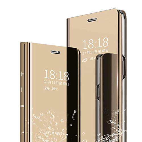 """Galaxy Note 10 Pro Flip Mirror case, Translucent Clear View Electroplate Flip Stand Luxury Case Cover for Samsung Gala"""" (Gold)"""