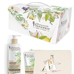 Mademoiselle Provence Deluxe Almond and Orange Blossom Skin Care Gift Set Ultra-Nourishing Shea Butter Hand Cream | Moisturizing Body Lotion | Elegant Cosmetics Bag | Luxury Beauty Gifts from France