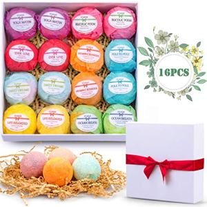 Bath Bombs Set 16 Shea Butter Dry Skin Moisturize Bath Bombs Gift Set Handmade Organic Spa Bubble Bath Birthday Mothers Day Christmas Gifts for Women/Wife/Girl/Her/Him/Girlfriend