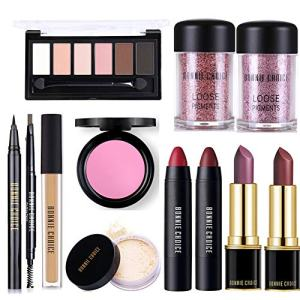BONNIE CHOICE 12 PCS Makeup Kits for Women, Makeup Set for Beginners, Includes Eyebrow Pencil,Eyeliner Pen,Loose Pigment Eyeshadow,Eyeshadow Palette,Liquid Concealer,Loose Power,Blush,Lipsticks