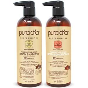 PURA D'OR Professional Grade Anti-Hair Thinning 2X Concentrated Actives (16oz Shampoo & 16oz Conditioner) for Maximum Results, Natural Ingredients, Clinically Tested, Sulfate Free, Men & Women