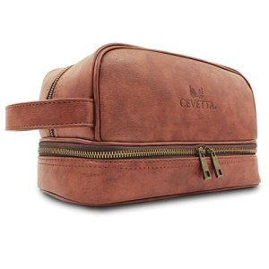 Cevetta Leather Toiletry Bag For Men (Dopp Kit) with free Travel Bottles