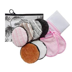 Dogie Lyn Reusable Microfiber Makeup Remover Removing Cloths Pads Fuff Cotton Rounds for Face,10 Pack-Face Cleansing Makeup Glove Magic Make-up Removing Mitt-Makeup Pouch-Bra Bag for Washing Machine
