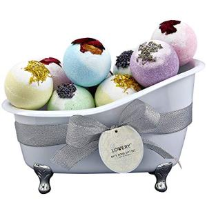 Mother's Day Bath Bombs Gift Set for Women – 10 Oversized Two Tone Bath Fizzies with Shea & Coco Butter Dry Flower Petals – Rich Spa Bath Set in Cute Tub - Multiple Fragrances – Perfect Holiday Gift
