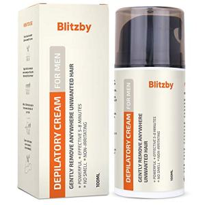 Blitzby Depilatory Cream For Men and Hair Removal Cream For Men, Powerful, Effective 10 Minutes, No smell, Non-Irritating, Gently Remove Anywhere Unwanted Hair, For All Skin Type, 100ML