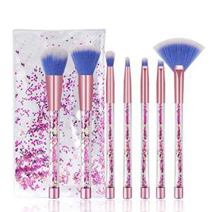 Makeup Brushes, 7PCS Glitter Quicksand Handle Makeup Brush Set for Foundation Powder Blush Eyeshadow with Case Beautiful Pink Purple Cosmetic Brushes
