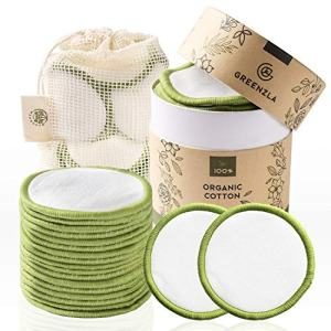 Greenzla Reusable Makeup Remover Pads (20 Pack) With Washable Laundry Bag And Round Box for Storage | 100% Organic Bamboo Cotton Rounds For All Skin Types | Eco-Friendly Reusable Cotton Pads