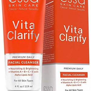 Vita Clarify Organic Vitamin C Face Wash by Essa - Natural Beauty & Skin Care Product - Daily Facial Cleanser for Men and Women - Ideal for Oily, Dry & Sensitive Skin - 4 Ounces