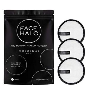 Face Halo | Reusable Makeup Remover Pads, Round Makeup Remover Pads for Heavy Makeup & Masks - Microfiber Makeup Remover Wipes for Mascara, Eye Shadow, Foundation (Original - 3 Pack)