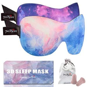 PrettyCare 3D Sleep Mask (Ultra Purple and Blue) Eye Mask for Sleeping - Contoured Face Mask - Blindfold with Ear Plugs,Travel Pouch - Best Night Eyeshade for Men Women Kids