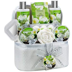 Mother's Day Bath and Body Gift Basket For Women & Men – 14 Piece Set in White Jasmine Scent - Home Spa Set with 6 Bath Bombs, Body Lotion, Rose Soaps, Hand Crafted White Sequined Cosmetics Bag & More