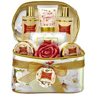 Mother's Day Gifts - Bath and Body Gift Basket For Women – Honey Almond Home Spa Set with Fragrant Lotions, 6 Bath Bombs, Reusable Travel Cosmetics Bag with Mirror and More - 14 Piece Set