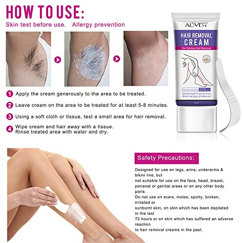 Natural Painless Permanent Thick Hair Removal Lotion Hair Removal Cream for Women, Depilatory Cream, Natural Painless Permanent Thick Hair Removal Lotion + Plastic Scraper, Used for Arm, Bikini Line, Legs and Underarm Smooth and soft skin- 50ml