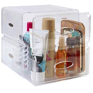 SEE ME TALL Extra Large Clear Makeup Organizer For Skincare, Makeup Palettes - Luxury Spacious Makeup Storage |Tall Drawer + 4 Compartments | 10.2 x 8.85 x 10.2 in (Clear Transparent)