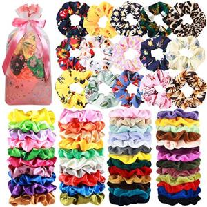 65 Pcs Hair Scrunchies Velvet Hair Scrunchies Silk Scrunchies Chiffon Flower Scrunchies Elastic Hair Ties Ropes Scrunchie for Women or Girls Hair Accessories for Christmas New Year