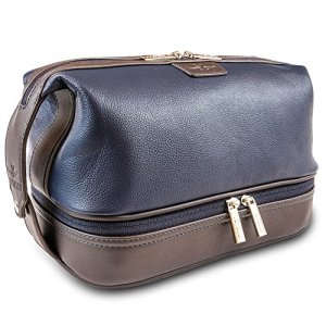 Mens Leather Toiletry Bag and Dopp Kit - Lots of Pockets and Plenty of Room For All Your Toiletry Needs. The Vetelli Leo Makes A Stylish Gift and is Perfect For any Traveller.