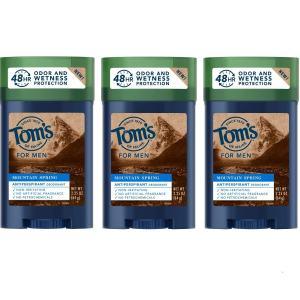 Tom's of Maine Men's antiperspirant, for Men, Mens Deodorant Antiperspirant, Mountain Spring, 2.25 Oz, 3 Pack