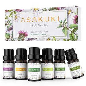 ASAKUKI 100% Pure Therapeutic Grade Essential Oils, Top 6 Aromatherapy Oils Gift Set 6 x 10ML for Diffuser, Humidifier, Winter(Lavender, Eucalyptus, Lemongrass, Tea Tree, Sweet Orange, Peppermint)