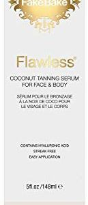 Fake Bake Flawless Coconut Tanning Serum   Glowing Sunnless Tan For Face & Body   Natural Moisturizing Anti-Aging Skin Benefits   Gloves Included for Easy Application , black ,5 oz