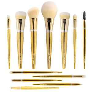 PINKPANDA 18k Gold-Plated Makeup Brushes 12 Pcs Professional Makeup Brush Set Premium Synthetic Cosmetic Foundation Blending Blush Concealers Eye Shadows Face Powder Brush Kabuki Make Up Brushes Kit
