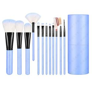 Shiratori Makeup Brush Set with Holder 12Pcs Makeup Brushes Premium Synthetic Foundation Brush Blending Face Powder Blush Concealers Eyeshadow Make Up Brushes Kit - Blue