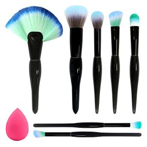 BAIMEI Makeup Brushes with a Makeup Sponge, Premium Synthetic Foundation Powder Brushes Face Makeup Brushes 7 Pcs Makeup Brush Set