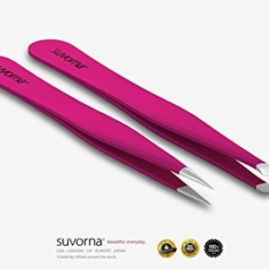 "Suvorna 4"" Precision Aligned Professional Tweezers Color Sets with Premium Stainless Steel. One Sharp Pointed Pair and One Slant Tip Pair for Eyebrow Shaping. Great for Ingrown Hair (Pink)"