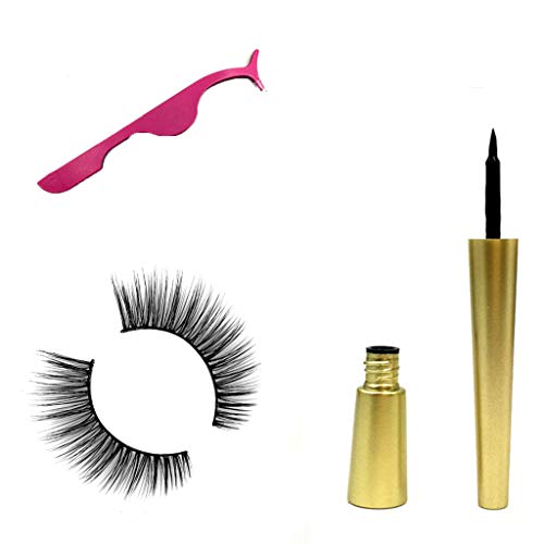 Cyuwlin Magnetic Liquid Eyeliner Kit with Magnetic 3D Eyelashes Lash Applicator Clip, Reusable Natural Look False Eye Lashes Liner Long Lasting No Glue Smudge Resistant Quick Drying Easy to Wear (D)