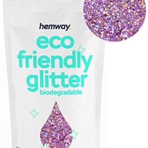 "Hemway Eco Friendly Biodegradable Glitter 100g / 3.5oz Bio Cosmetic Safe Sparkle Vegan for Face, Eyeshadow, Body, Hair, Nail and Festival Makeup, Craft - 1/40"" 0.025"" 0.6mm - Pink Holo"