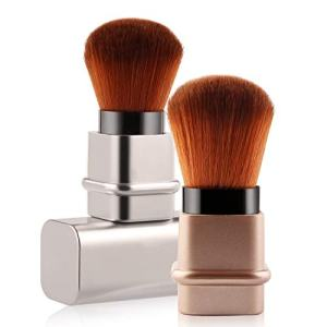 Vtrem Kabuki Brush Retractable 2 PCs Silver Brown Professional Travel Foundation Brushes Soft Premium Face Blush Brushes Set for Blending Liquid, Cream or Flawless Powder Cosmetics