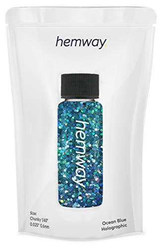 "Hemway Glitter Tube 12.8g / 0.45oz Extra Chunky 1/40"" 0.025"" 0.6MM Premium Sparkle Gel Nail Dust Art Powder Makeup Pigment Eyeshadow Face Body Eye Cosmetic Safe -(Ocean Blue Holographic)"