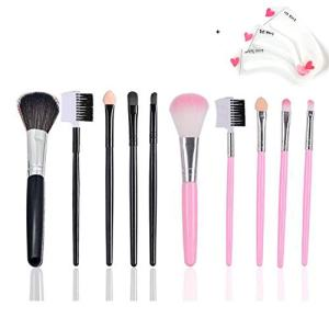 Makeup Brushes Makeup Brush Set Premium Synthetic Foundation Brush Blending Face Powder Blush Concealers Eye Shadows Make Up Brushes Kit+Eyebrow Stencil Card (PINK+BLACK)