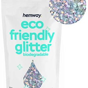 "Hemway Eco Friendly Biodegradable Glitter 100g / 3.5oz Bio Cosmetic Safe Sparkle Vegan for Face, Eyeshadow, Body, Hair, Nail and Festival Makeup, Craft - 1/8"" 0.125"" 3mm - Silver Holographic"