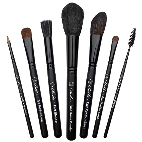 Bella Complete Makeup Brush Set (7-Piece) | Handmade in USA | Face Dome Powder, Contour Blush, Eye Mascara, Lipstick Applicator, and Large & Small Cosmetic Brushes | Full Make Up Kit for Women