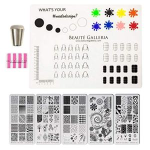 Beaute Galleria Bundle Nail Art Stamping Set - 5 Styles of Premium Etched Stamping Plates Image Templates, Silicone Nail Mat, Nail Stamper, Plate Scraper and Instruction Card