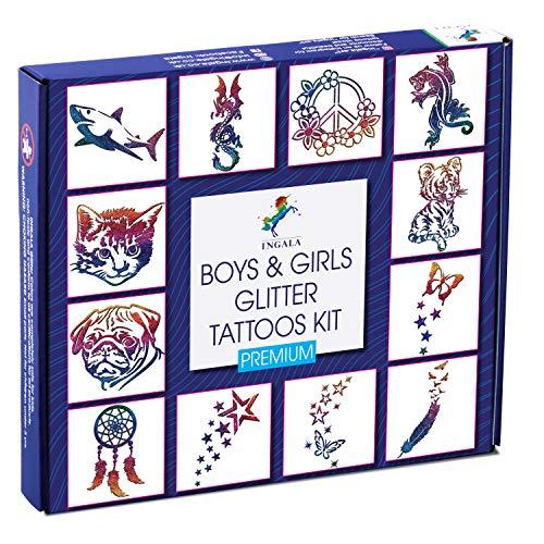 INGALA PREMIUM Glitter Tattoo Kit for Boys and Girls | Unique Professional Glitter Tattoos for Kids and Adults | 74 Amazing Glitter Tattoo Stencils | 2 XL (0.5fl oz) Glitter Tattoo Glue. By Ingala