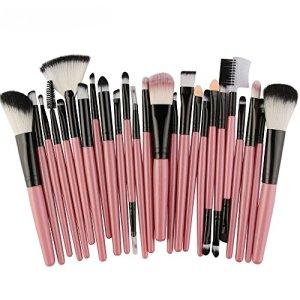 Cloudro 25pcs Makeup Brushes Set with Wooden Handle,Premium Foundation Powder Brush Lip Brush Mascara Brush Eyeshadow Brush Make up Brushes Set (Pink)