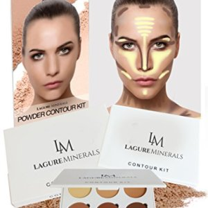 Lagure Minerals Powder Contour Kit - Premium Bronzer and Contour Palette for Flawless Highlighting and Contouring - Step-by-Step Contour Guide Included